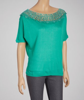 Jade Lace Boatneck Top