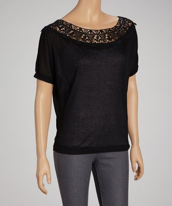 Black Lace Boatneck Top