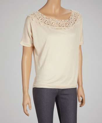 Beige Lace Boatneck Top