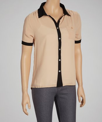 Beige & Black Contrast Button-Up