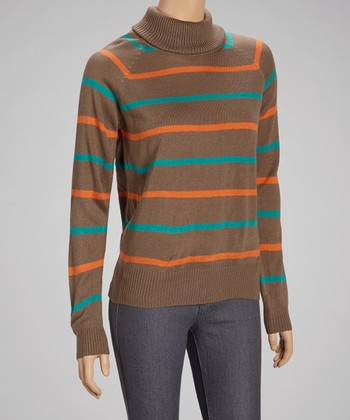 Mocha Stripe Turtleneck