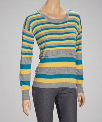 Mustard & Blue Stripe Scoop Neck Top