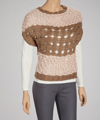 Mocha Stripe Wool-Blend Cape-Sleeve Sweater