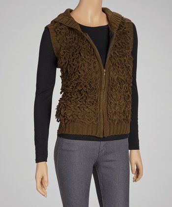 Olive Yarn Hooded Vest