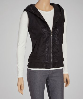 Black Lace-Trim Hooded Vest