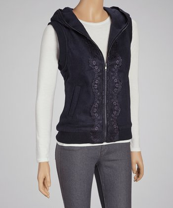 Navy Lace-Trim Hooded Vest