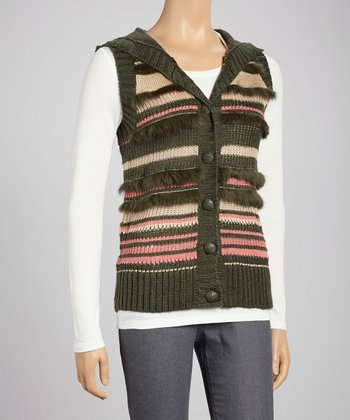 Olive Stripe Hooded Vest