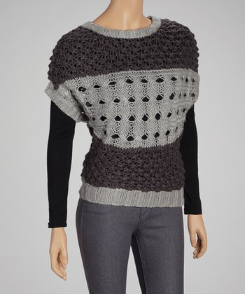 Gray Stripe Wool-Blend Cape-Sleeve Sweater