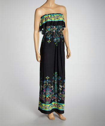 Black & Lime Paisley Strapless Maxi Dress