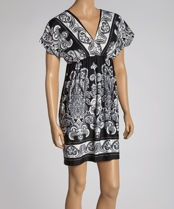 Black & White Paisley Surplice Dress - Women