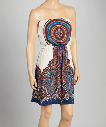 Cream & Navy Paisley Strapless Dress