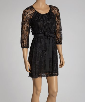 Black Lace Tie-Waist Dress