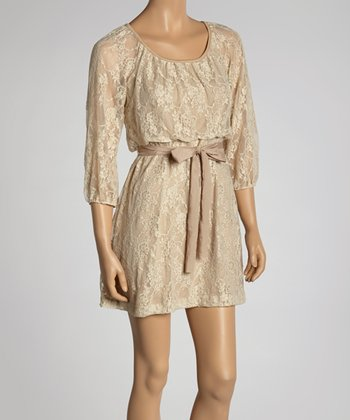 Mocha Lace Tie-Waist Dress