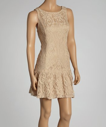 Beige Lace Sleeveless Drop-Waist Dress