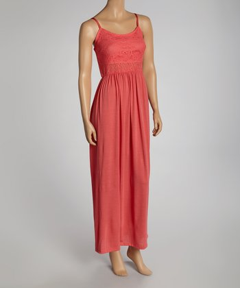 Coral Lace Maxi Dress - Women
