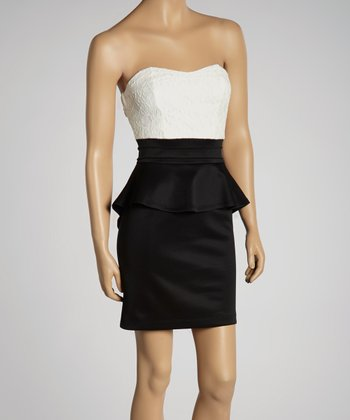 Ivory & Black Peplum Strapless Dress