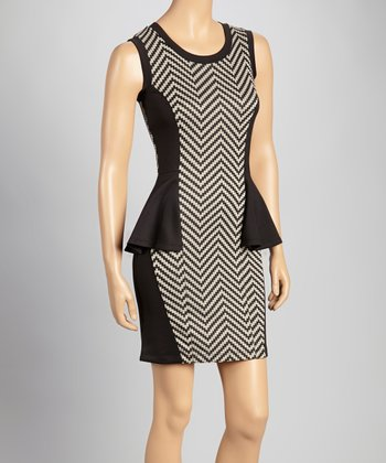 Taupe & Black Chevron Peplum Dress