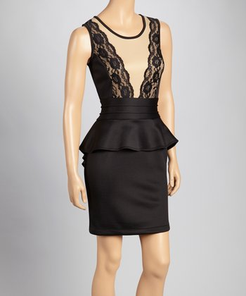 Black & Beige Lace Peplum Dress