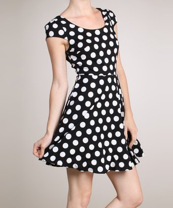 Black & Cream Polka Dot Dress