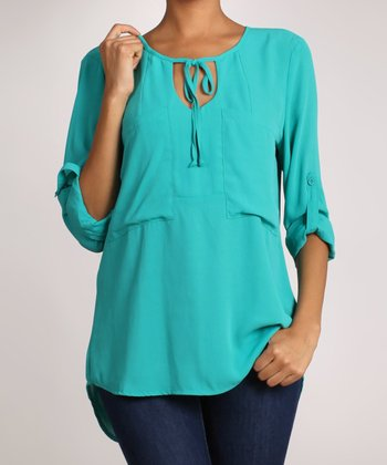 Teal V-Neck Top