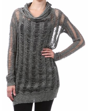 Charcoal Loose-Knit Mock Neck Tunic