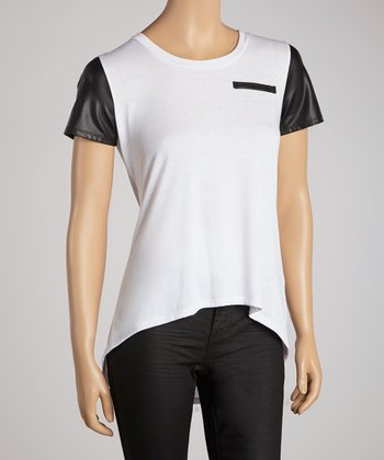 White & Black Faux Leather-Trim Tee -