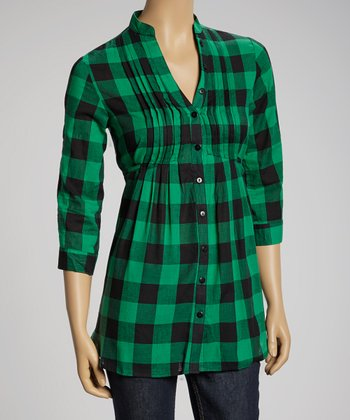 Green & Black Buffalo Check Three-Quarter Sleeve Top