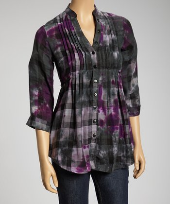 Black & Purple Plaid Tie-Dye Button-Up