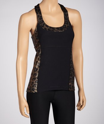 Black & Copper Leopard Racerback Tank