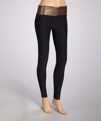 Black & Copper Snakeskin Leggings