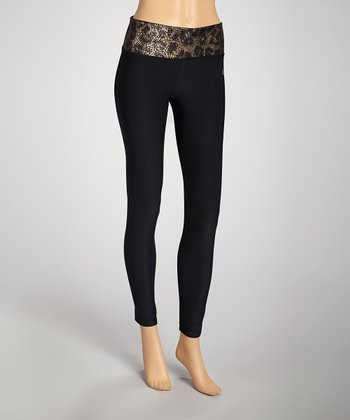 Black & Copper Leopard Leggings