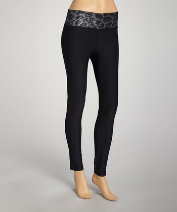 Black & Silver Leopard Leggings