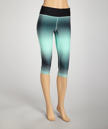 Black & Mint Capri Pants
