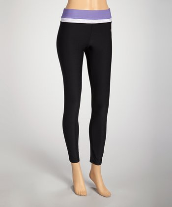 Black & Dusty Stripe Purple Leggings