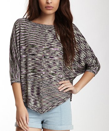 Black & Purple Space Dye Dolman Top - Women