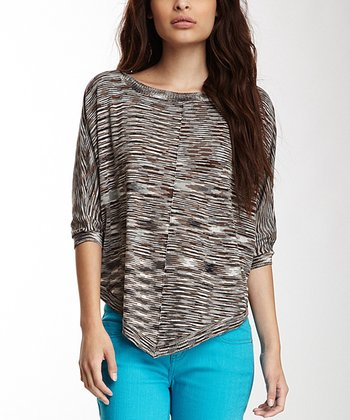 Black & Brown Space Dye Dolman Top - Women