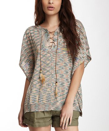 Blue & Tan Iguana Cape-Sleeve Top