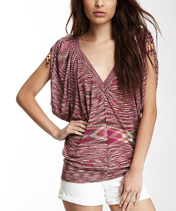 Pink & Cream Space Dye Ruched Cape-Sleeve Top - Women