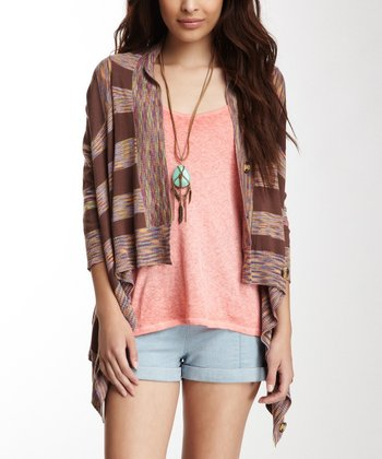 Brown & Orange Saddle Stripe Cardigan - Women