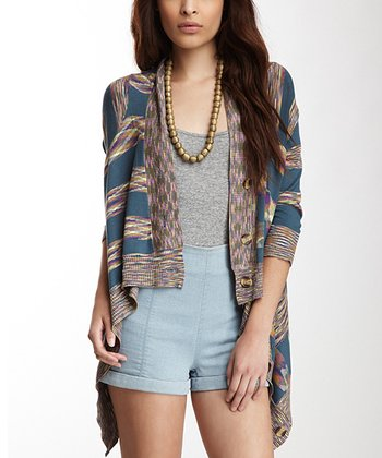 Blue & Brown Stripe Cardigan