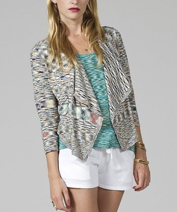 Blue & Black Drape Blazer