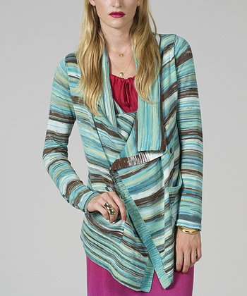 Blue & Brown Stripe Seaweed Open Cardigan - Women