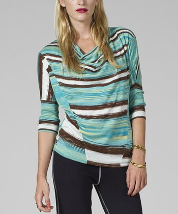 Blue & Brown Stripe Seaweed Cowl-Neck Dolman Top