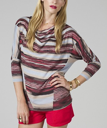 Maroon & Black Cowl-Neck Dolman Top - Women