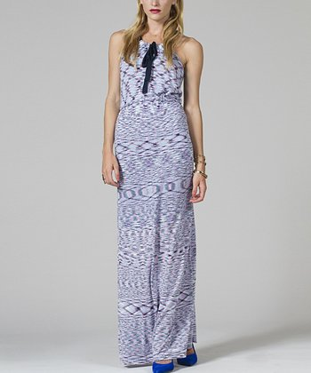 Light Blue & Navy Maxi Dress - Women