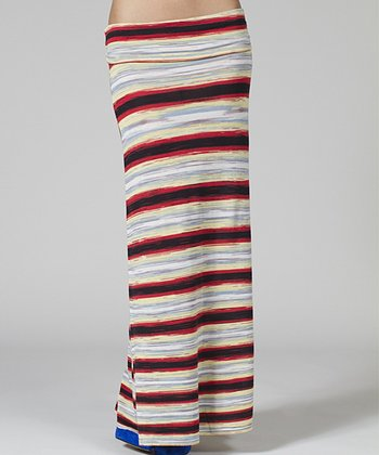 Red & Black Stripe Maxi Skirt - Women