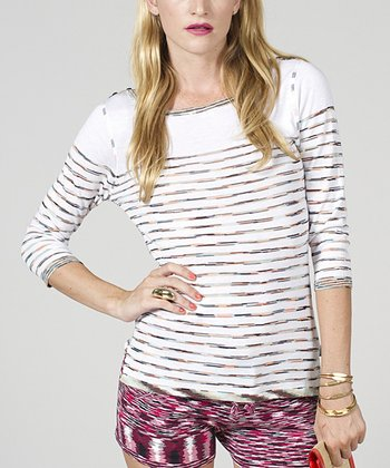 Sorbet & White Stripe Boatneck Top - Women