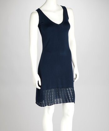 Navy Pointelle Dress