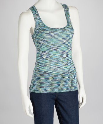 Blue & Green Racerback Tank - Women