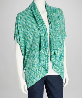 Green Cape-Sleeve Open Cardigan